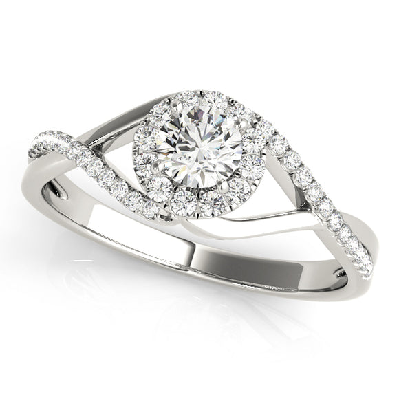 Halo Engagement Ring Twisted Band