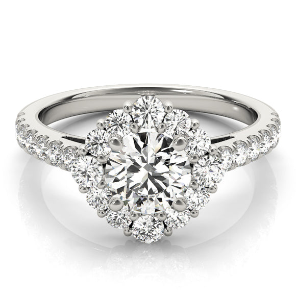 Princess Cushion Halo Engagement Ring