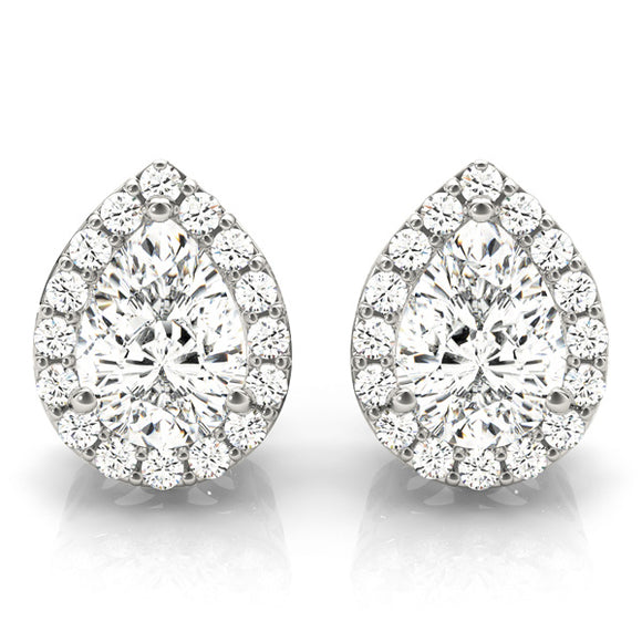 Pear Shape Halo Earrings