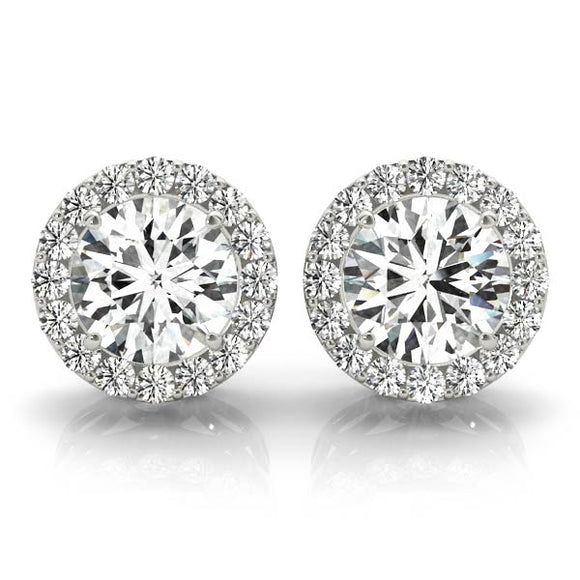 Round Shape Halo Earrings