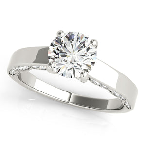 Solitaire Engagement Ring With Pave' Diamond on Side Profile