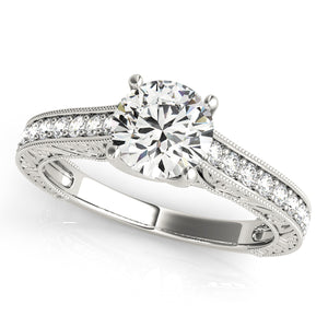 Prong Set Pave' Engagement Ring Antique Profile