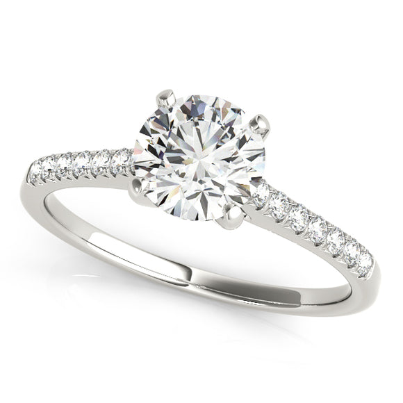 French Pave' Solitaire Engagement Ring