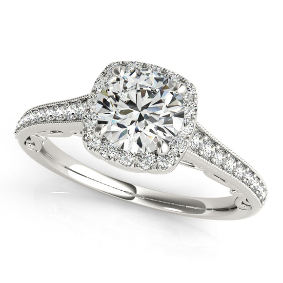 V-Basket Halo Engagement Ring