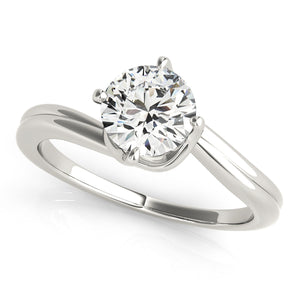 Solitaire Engagement Ring Twisted Basket in Plain Band