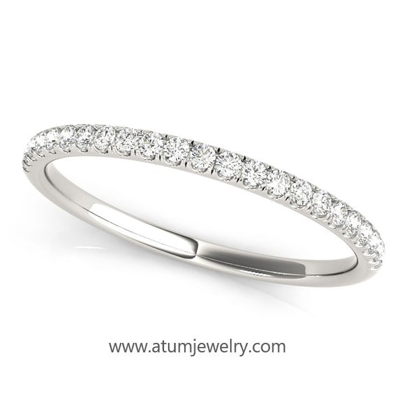 Prong Set Set Wedding Band