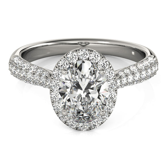 Oval Halo Engagement Ring Micro Pave' Band