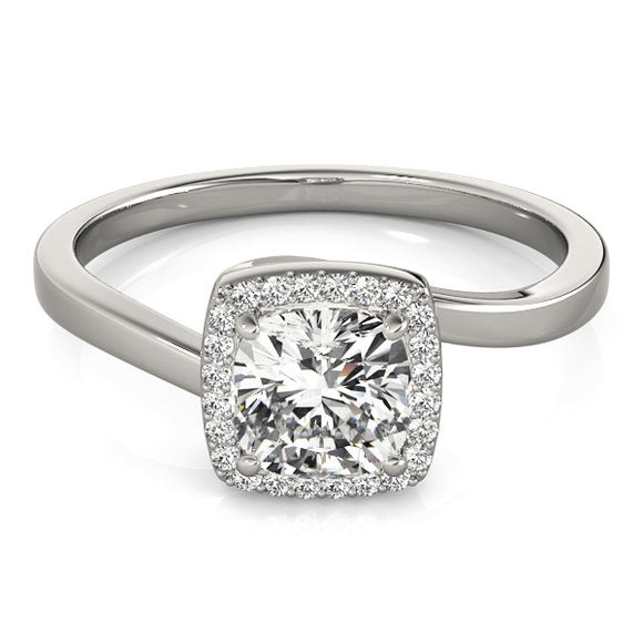 Square Halo Engagement Ring Plain Band
