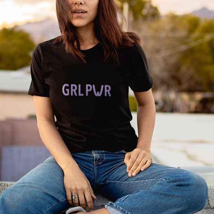 T-shirt Girl Power - Preta