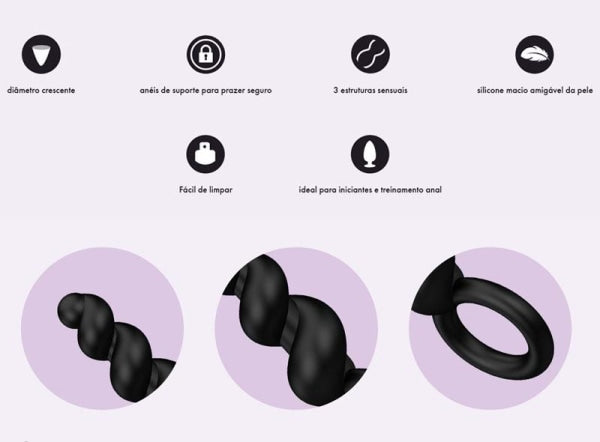 Kit 3 Plugs Em Silicone Satisfyer - Black Plug Anal