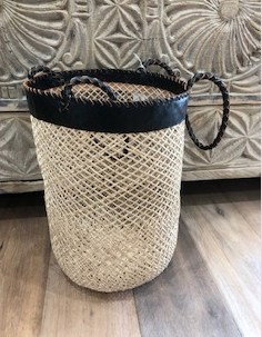 Leather Trim Basket Large