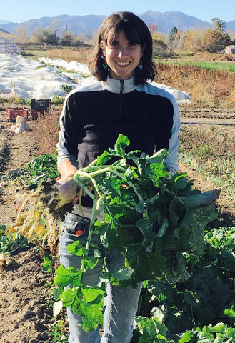 Susanna at Red Wagon farm with organic rutabaga