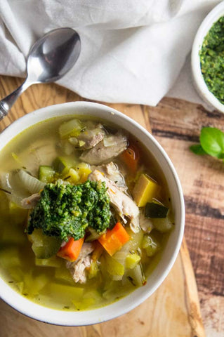 Nourishing Chicken Soup with Arugula Pesto