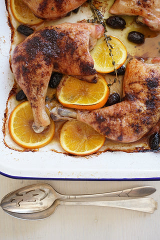 Roast Organic Chicken with Olives, Orange and Thyme