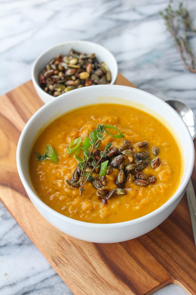 Sweet Potato and Roasted Poblano Soup (Optional Bacon)