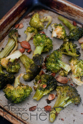 Roasted Organic Broccoli Almondine (Nuts Optional)