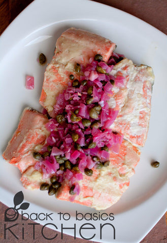 Wild Alaskan Salmon with Lemon Caper Sauce