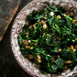 Garlicky Organic Greens with Optional Toasted Pine Nuts and Raisins