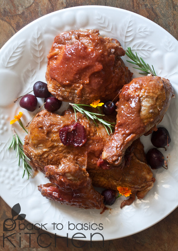 Moroccan Roast Chicken with Optional Fig and Colorado Cherries