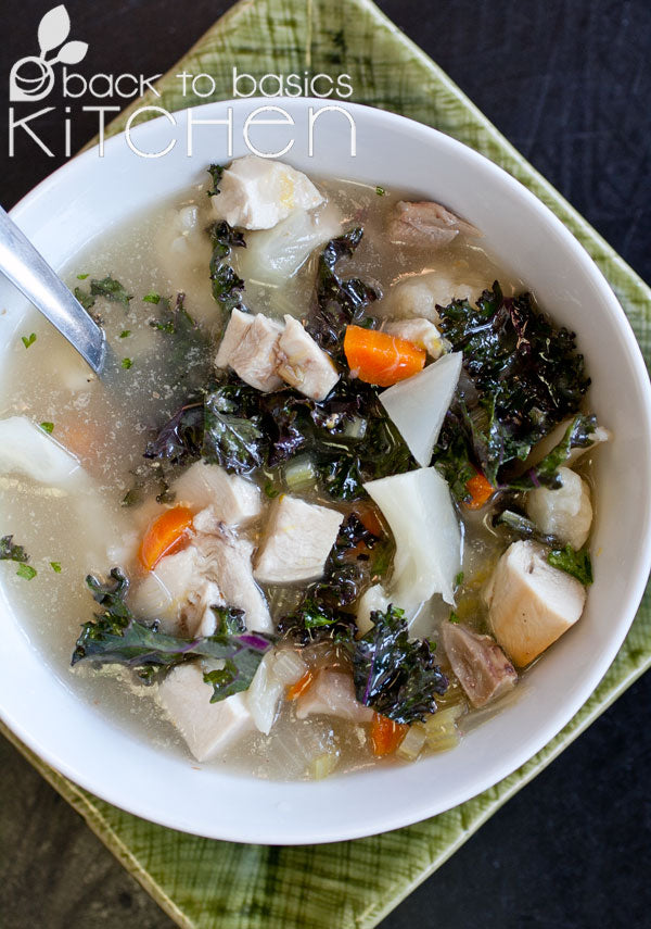 Classic Chicken Vegetable Soup with Basil Pesto