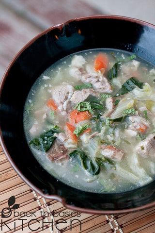 Aromatic Chinese Vegetable Pork Soup with Ginger and Sesame