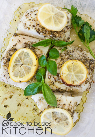 Wild Cod Filets with Herbs, Garlic and Lemon