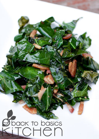 Garlicky Collard Greens with (Optional) Bacon Dressing