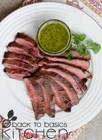 Grassfed Ribeye Steak with Tangy Chimichurri Sauce