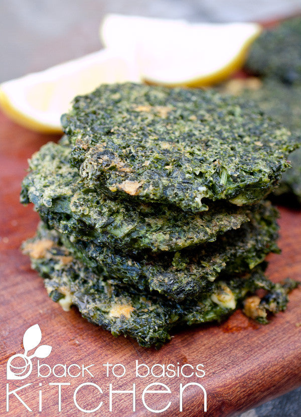 Paleo, Gluten Free, Vegetarian Cheesy Local Spinach and Kale Fritters available for pickup site and home delivery in Lafayette, CO