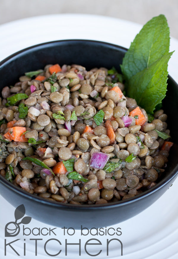 Black Lentil Salad with Tangy Lemon & Optional Beef Sausage
