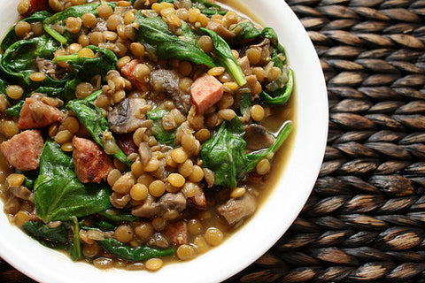Comforting Lentil Soup with Spinach (Optional Beef Sausage)