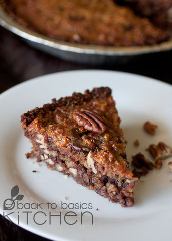 Holiday Decadent Chocolate Pecan Pie with Date Nut Crust (Paleo)