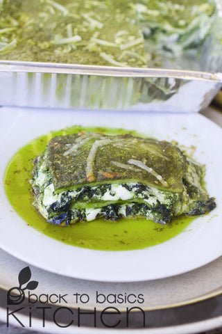 Creamy Pesto Lasagna with Greens and Cheese