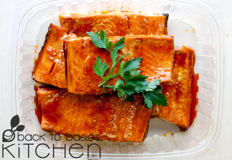 Wild Salmon Bake with Pomegranate Citrus Glaze available for pickup site and home delivery in Boulder, CO.