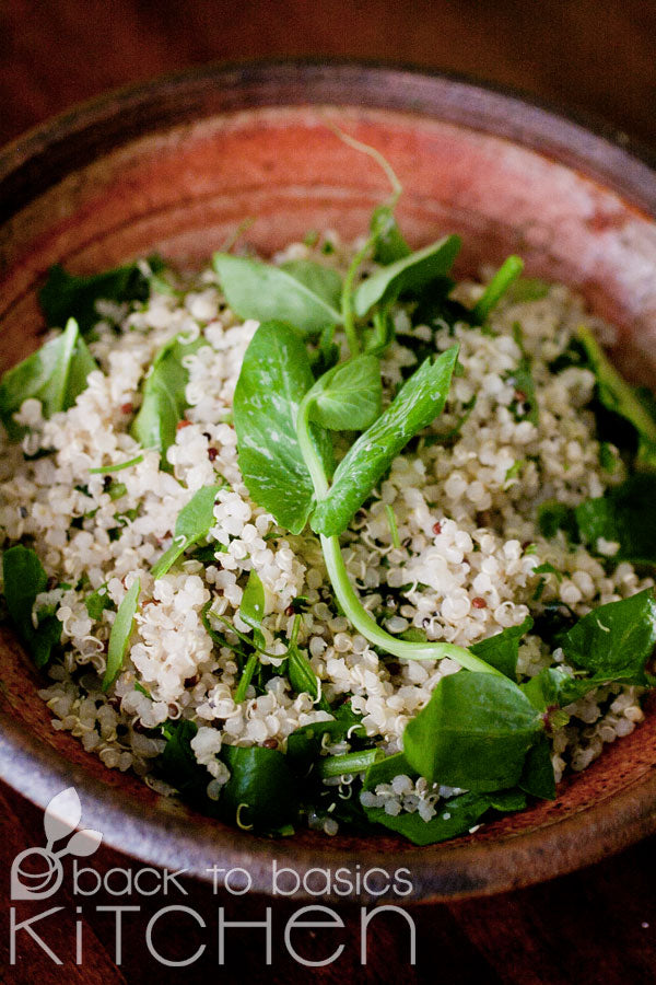 Quinoa Salad with Shredded Brussels & Roasted Shallot Dressing