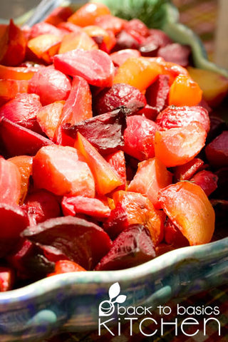 Balsamic Roast Root Vegetables with Optional Beef