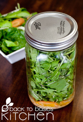 Local Lettuce Salad in a Jar with Plum Dressing