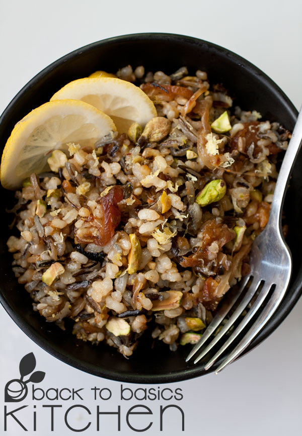 Gluten Free, Vegan Wild Rice Pilaf with Apricots and Pistachios available for delivery in Lafayette, CO.