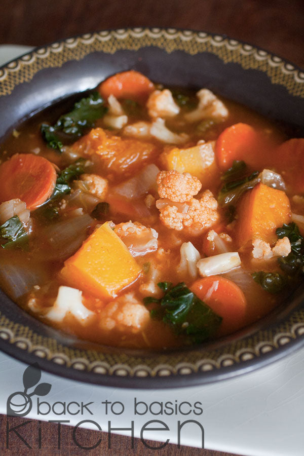 Fall Veggie Soup with Roasted Butternut, Cauliflower, & Smoked Paprika