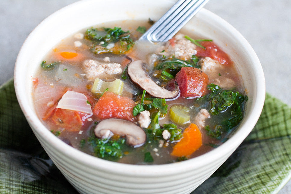 aromatic paleo minestrone pork soup with basil healthy