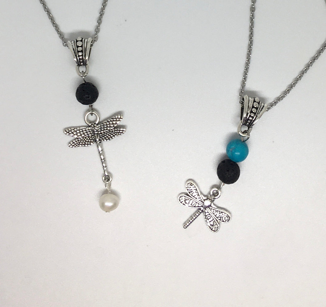 Lava Rock Essential Oil Dragon Fly Necklace