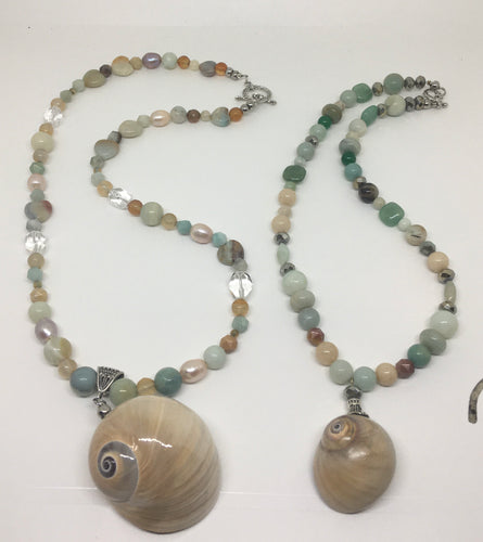 Amazonite Shark Eye Shell Necklaces