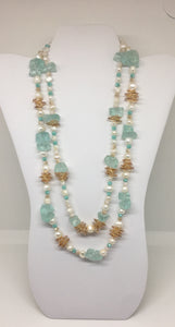 Sea Glass  and Freshwater Pearl Necklace 22""