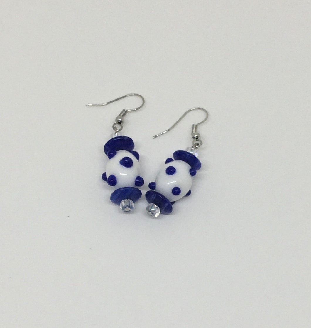 Royal Blue And White Earring Set