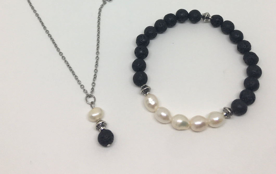 Lava Rock And Freshwater Pearl Set