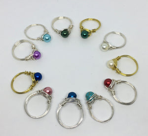 Birthstone Wire Wrapped Rings