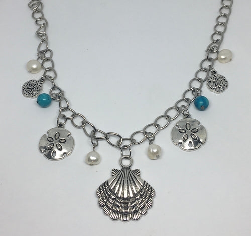 Sale! Sand Dollar Seashell Freahwater Pearl Necklace