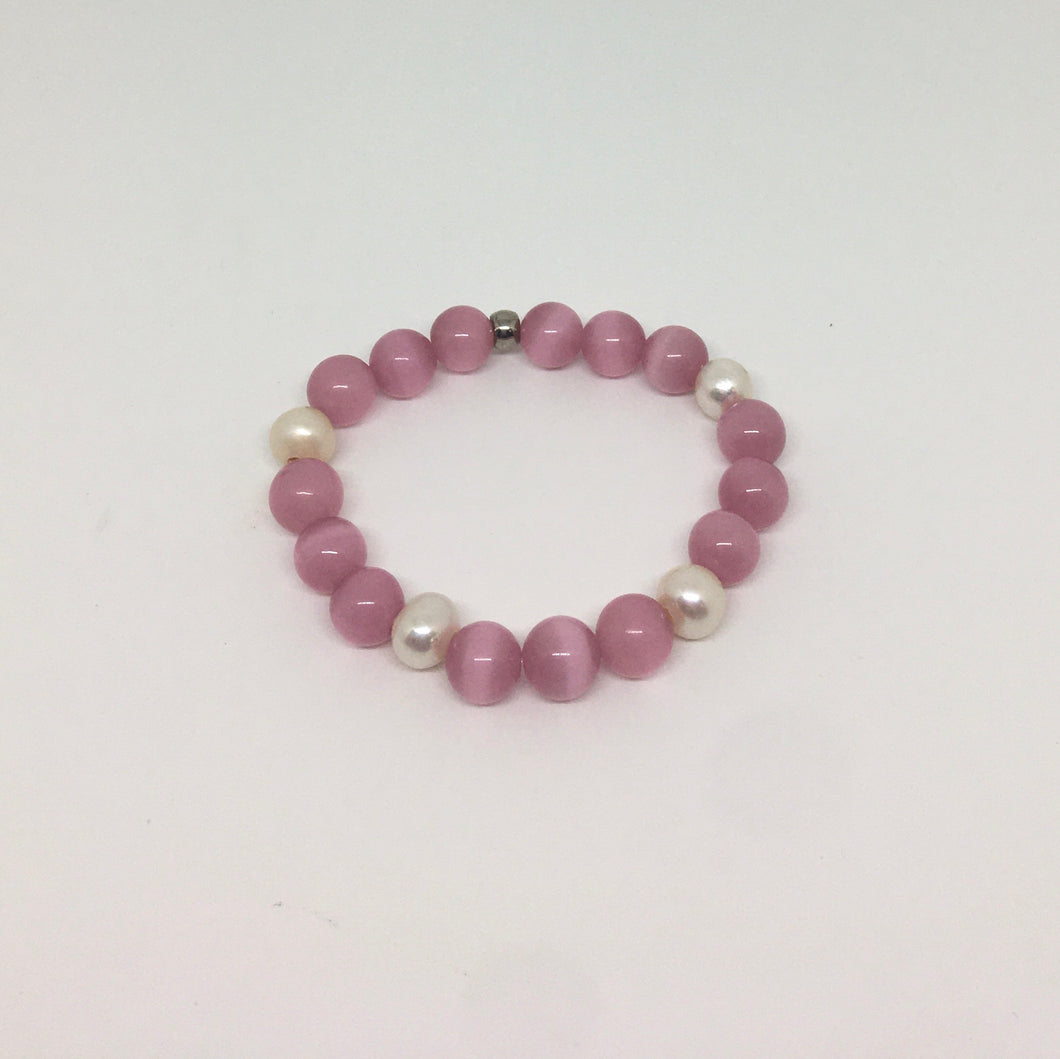Sale! Pink Cats Eye Gemstone Bracelet