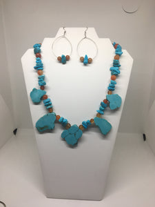 Sale!! Turquoise And Agate Necklace Set