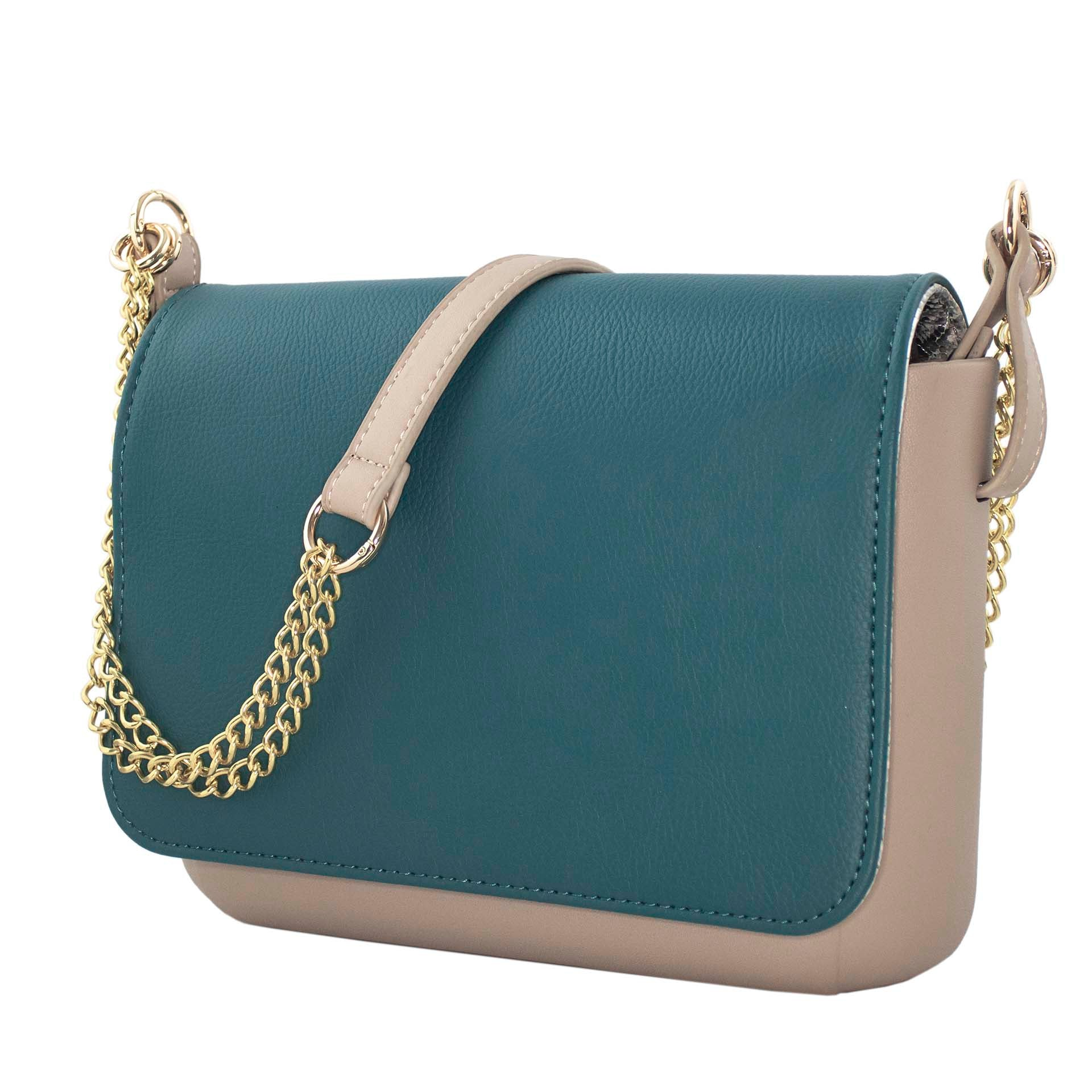Beige, gold, and dark teal crossbody purse with interchangeable pieces and built-in wireless charging.